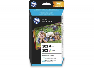 HP303 - Pack de 2 TINTEIROS BK + C + PACK 40 FOLHAS PAPEL FOTOGRÁFICO