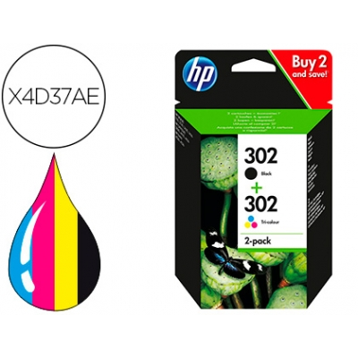Hpx4d37a - Pack Hp 302bk + Hp302c