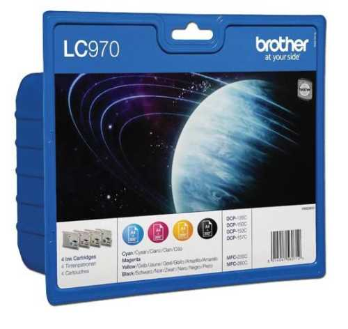 Pack 4 Tinteiros Brother Lc970 Bk/ Y / C / M